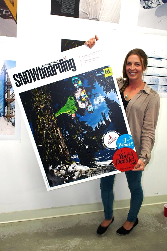 Kimmy's on the cover of the 1st issue of TWSnow. Please go to http://snowboarding.transworld.net/2012-team-shoot-out/ to vote for your favorite Team Shootout cover, photos, and video. Hint: Burton AK! :)
