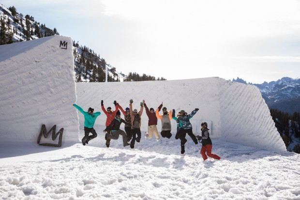 "This is the line up to hit the 55-foot channel gap, which was built on the back side of Mammoth Mountain. Though it may look intimidating, ""It was a pretty standard sized jump for all of us and had a pretty poppy take-off,"" says Fasani. ""It did have a very easy transition to land on so there was hardly any consequence if you fell. … We wanted something safer so we could try new tricks."" To see more photos click the picture above. Photo Peter Morning."