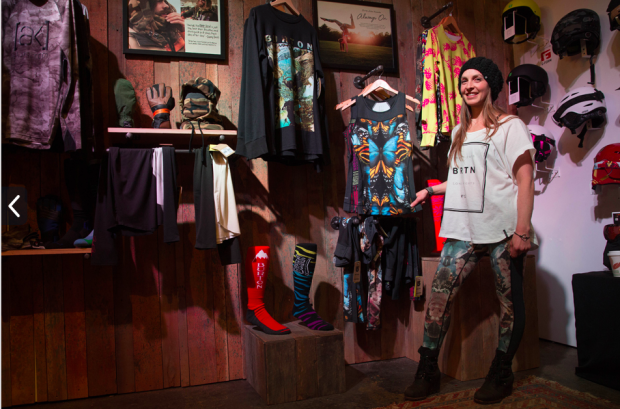 Kimmy showing off the new active inspired first layers at the Burton Booth at SIA. Click the link to read about the product.