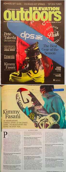 Kimmy was featured in Elevation Outdoors